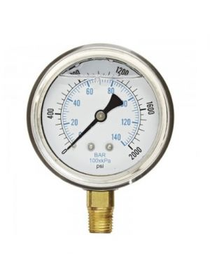 PRESSURE GAUGE, 0-2000 PSI, STAINLESS STEEL CASE