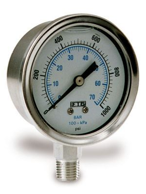 Gauge - 0 - 5000 PSI - Bottom Mount - Stainless