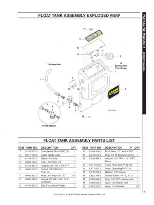 FLOAT TANK ASSEMBLY PARTS LIST, PHW